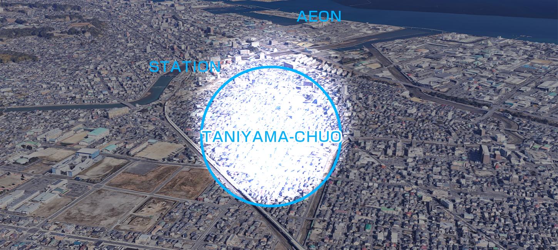 街なか邸宅。谷山中央プロジェクト航空写真